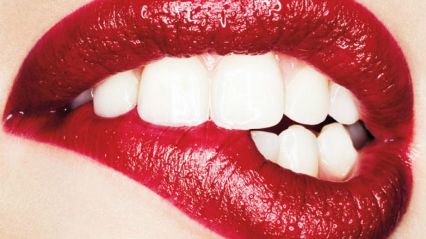 teeth and lipstick