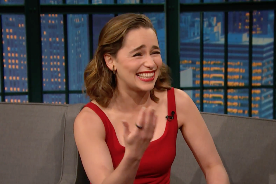 emilia clarke laughing during an interview