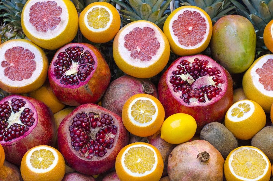 Pomegranates, oranges, and grapefruits