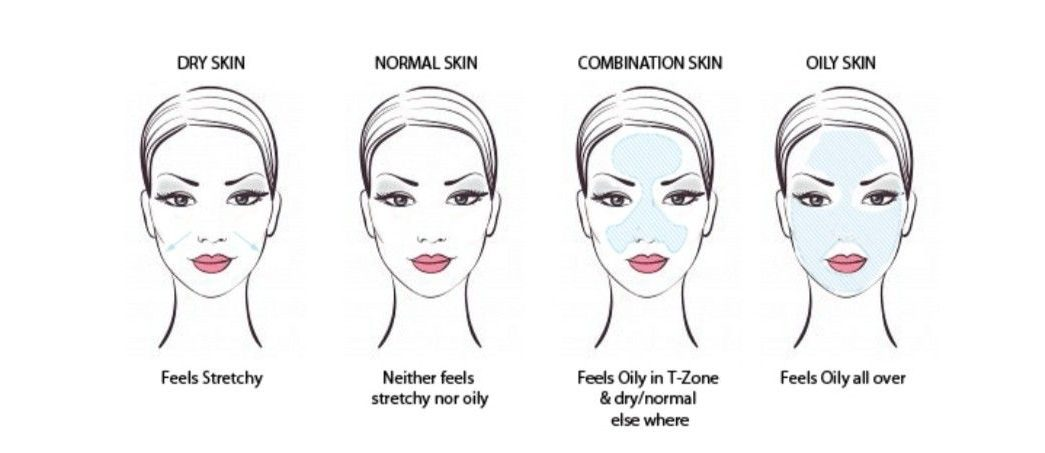 Diagram of the four different skin types