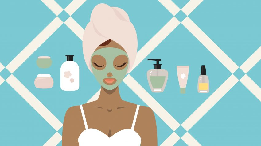 Drawing of woman with face mask surrounded by skincare products