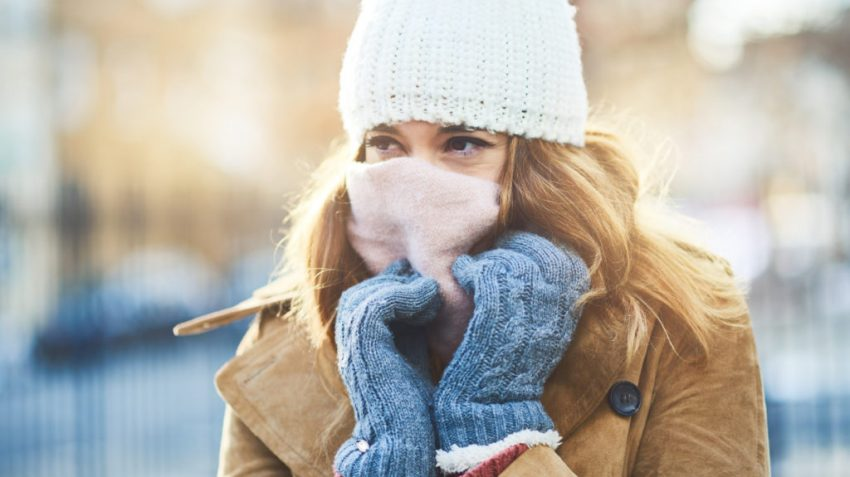 girl bundled up in scarf and hat for winter